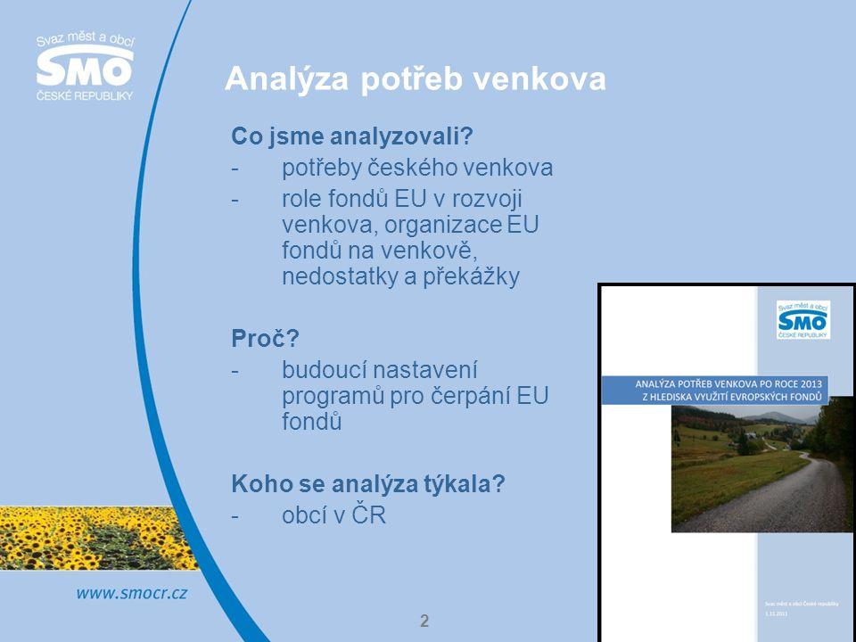 2 Analýza potřeb venkova Co jsme analyzovali.