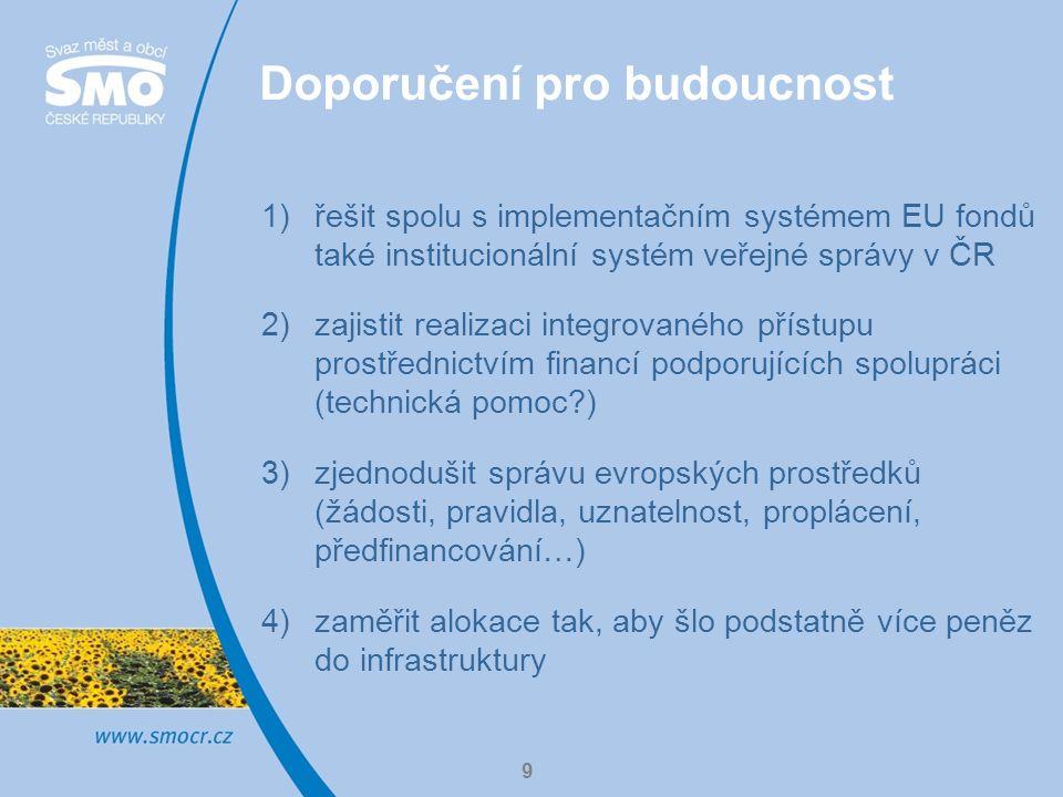 9 Doporučení pro budoucnost 1)řešit spolu s implementačním systémem EU fondů také institucionální systém veřejné správy v ČR 2)zajistit realizaci integrovaného přístupu prostřednictvím financí podporujících spolupráci (technická pomoc ) 3)zjednodušit správu evropských prostředků (žádosti, pravidla, uznatelnost, proplácení, předfinancování…) 4)zaměřit alokace tak, aby šlo podstatně více peněz do infrastruktury