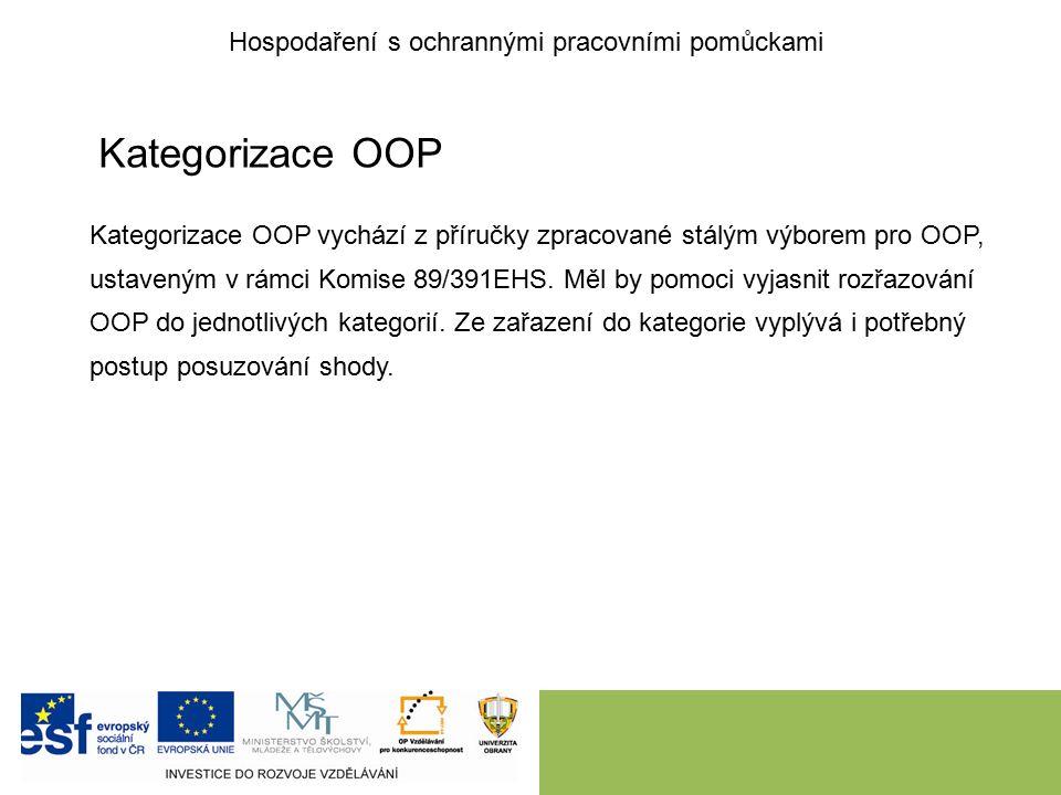 Kategorizace OOP Kategorizace OOP vychází z příručky zpracované stálým výborem pro OOP, ustaveným v rámci Komise 89/391EHS.