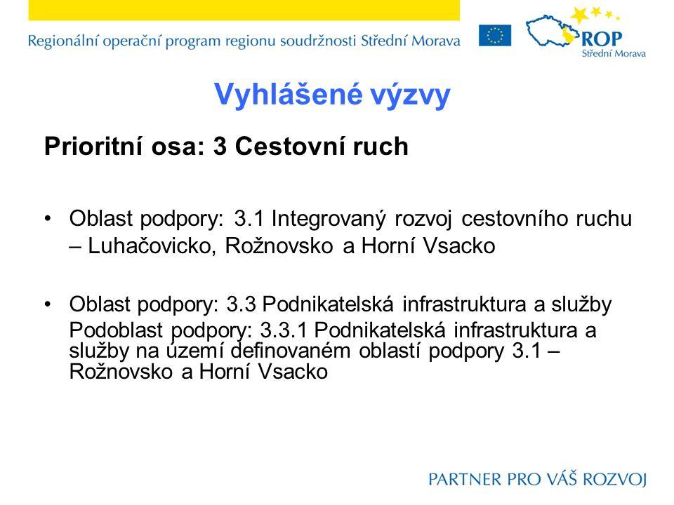 Vyhlášené výzvy Prioritní osa: 3 Cestovní ruch Oblast podpory: 3.1 Integrovaný rozvoj cestovního ruchu – Luhačovicko, Rožnovsko a Horní Vsacko Oblast