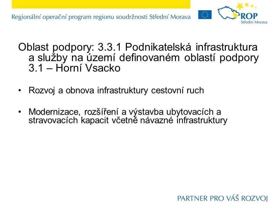 Oblast podpory: 3.3.1 Podnikatelská infrastruktura a služby na území definovaném oblastí podpory 3.1 – Horní Vsacko Rozvoj a obnova infrastruktury ces
