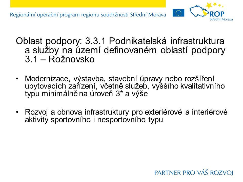 Oblast podpory: 3.3.1 Podnikatelská infrastruktura a služby na území definovaném oblastí podpory 3.1 – Rožnovsko Modernizace, výstavba, stavební úprav