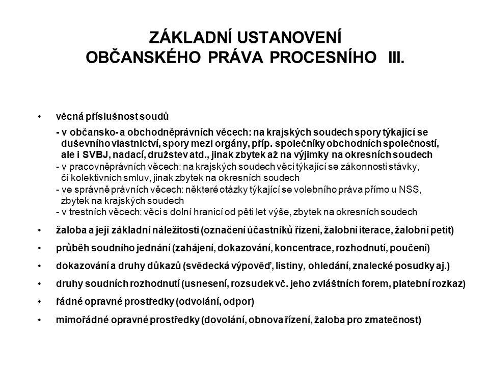 ZÁKLADNÍ USTANOVENÍ OBČANSKÉHO PRÁVA PROCESNÍHO III.
