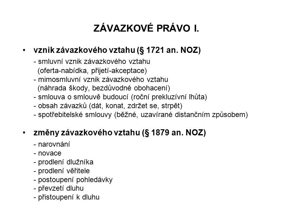 ZÁVAZKOVÉ PRÁVO I. vznik závazkového vztahu (§ 1721 an.