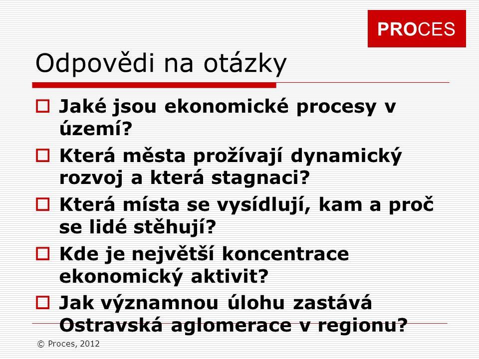 PROCES Odpovědi na otázky  Jaké jsou ekonomické procesy v území.