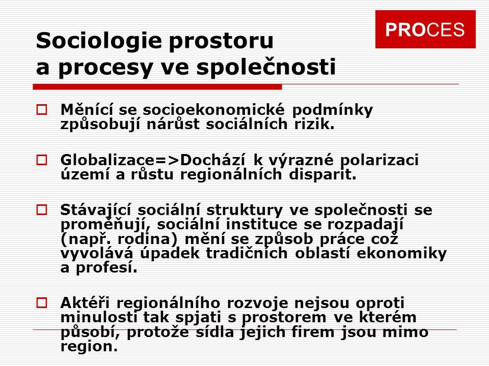PROCES Sociologie prostoru a procesy ve společnosti  Měnící se socioekonomické podmínky způsobují nárůst sociálních rizik.