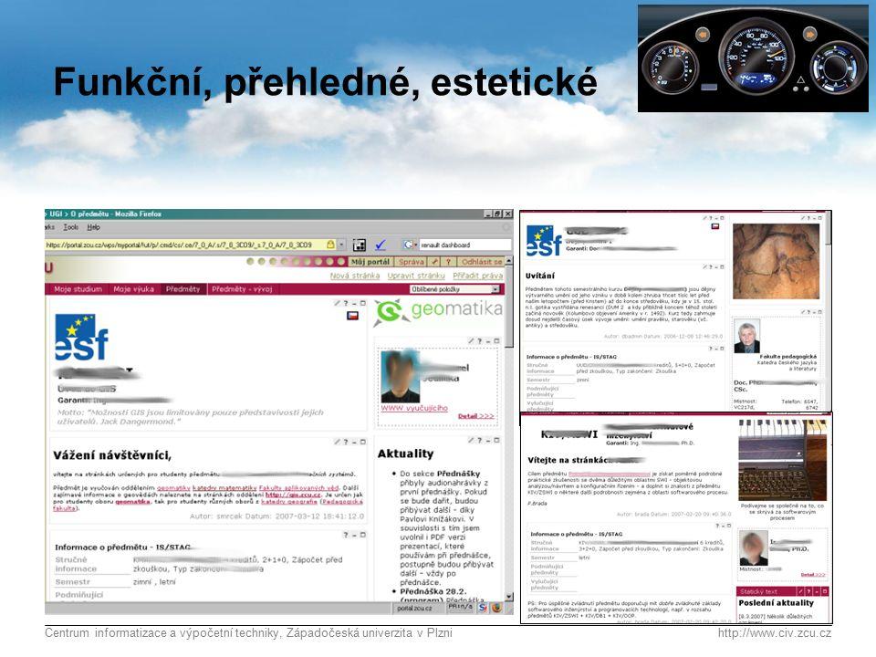 Centrum informatizace a výpočetní techniky, Západočeská univerzita v Plznihttp://www.civ.zcu.cz 14 Funkční, přehledné, estetické