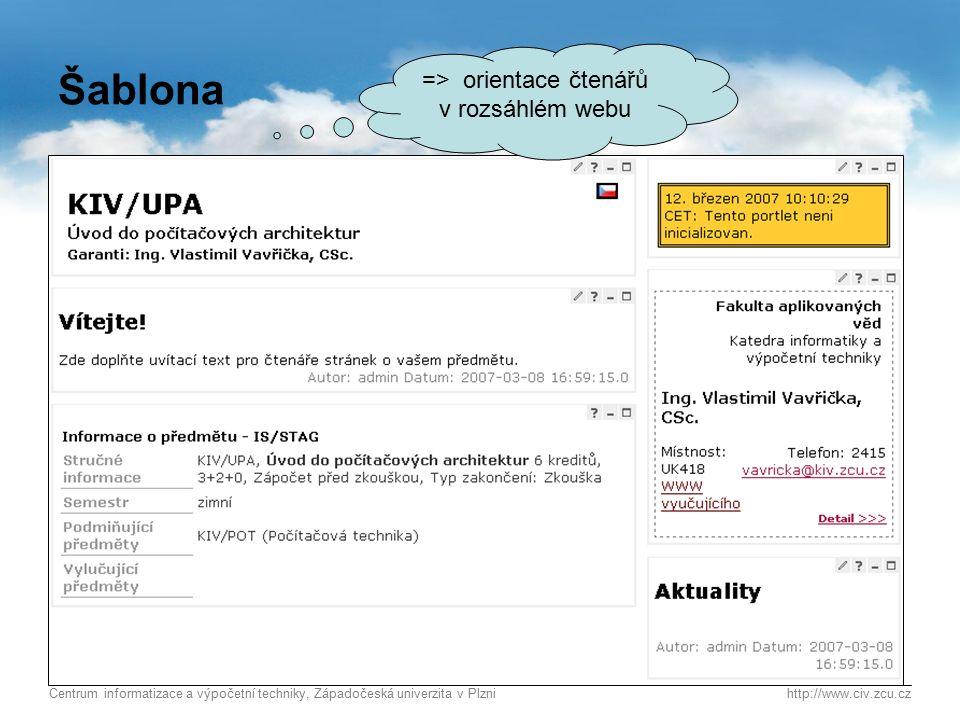 Centrum informatizace a výpočetní techniky, Západočeská univerzita v Plznihttp://www.civ.zcu.cz 3 Šablona  Cílem je +/- jednotný vzhled => orientace čtenářů v rozsáhlém webu