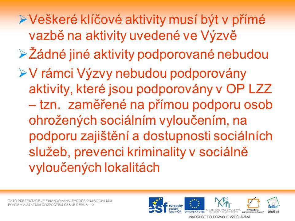 Veškeré klíčové aktivity musí být v přímé vazbě na aktivity uvedené ve Výzvě  Žádné jiné aktivity podporované nebudou  V rámci Výzvy nebudou podporovány aktivity, které jsou podporovány v OP LZZ – tzn.