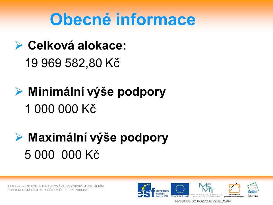 Obecné informace  Celková alokace: 19 969 582,80 Kč  Minimální výše podpory 1 000 000 Kč  Maximální výše podpory 5 000 000 Kč