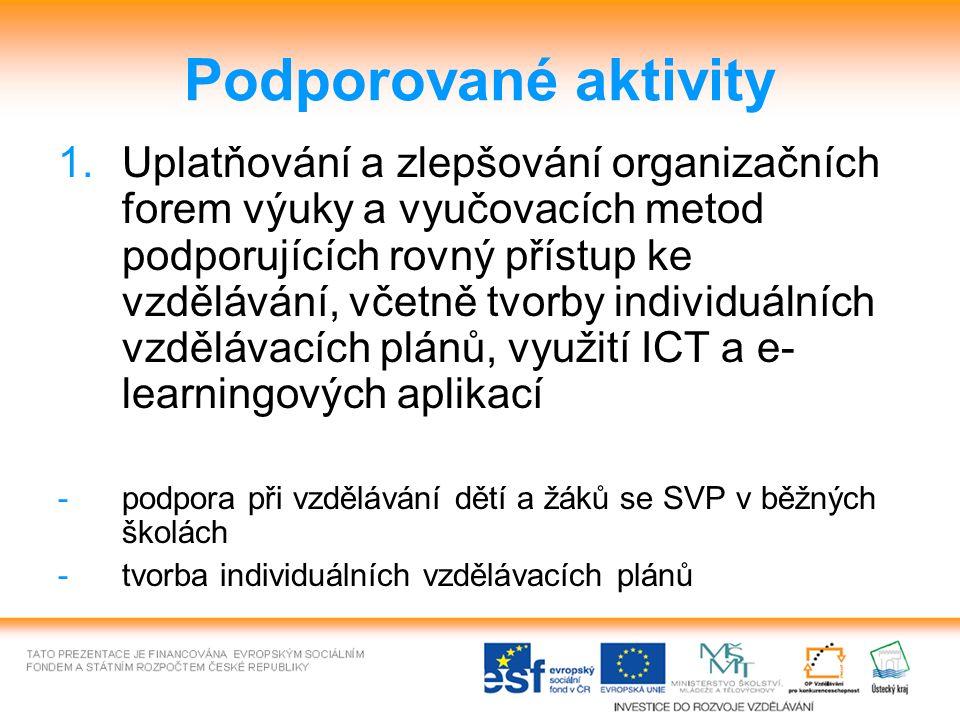 Podporované aktivity 1.Uplatňování a zlepšování organizačních forem výuky a vyučovacích metod podporujících rovný přístup ke vzdělávání, včetně tvorby individuálních vzdělávacích plánů, využití ICT a e- learningových aplikací -podpora při vzdělávání dětí a žáků se SVP v běžných školách -tvorba individuálních vzdělávacích plánů
