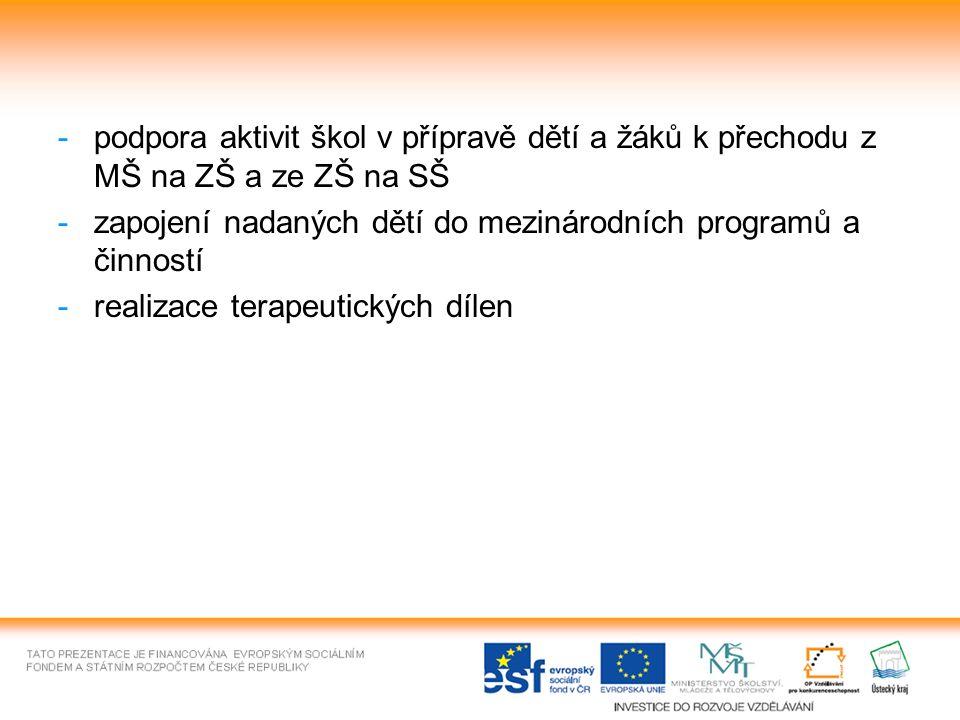 -podpora aktivit škol v přípravě dětí a žáků k přechodu z MŠ na ZŠ a ze ZŠ na SŠ -zapojení nadaných dětí do mezinárodních programů a činností -realizace terapeutických dílen