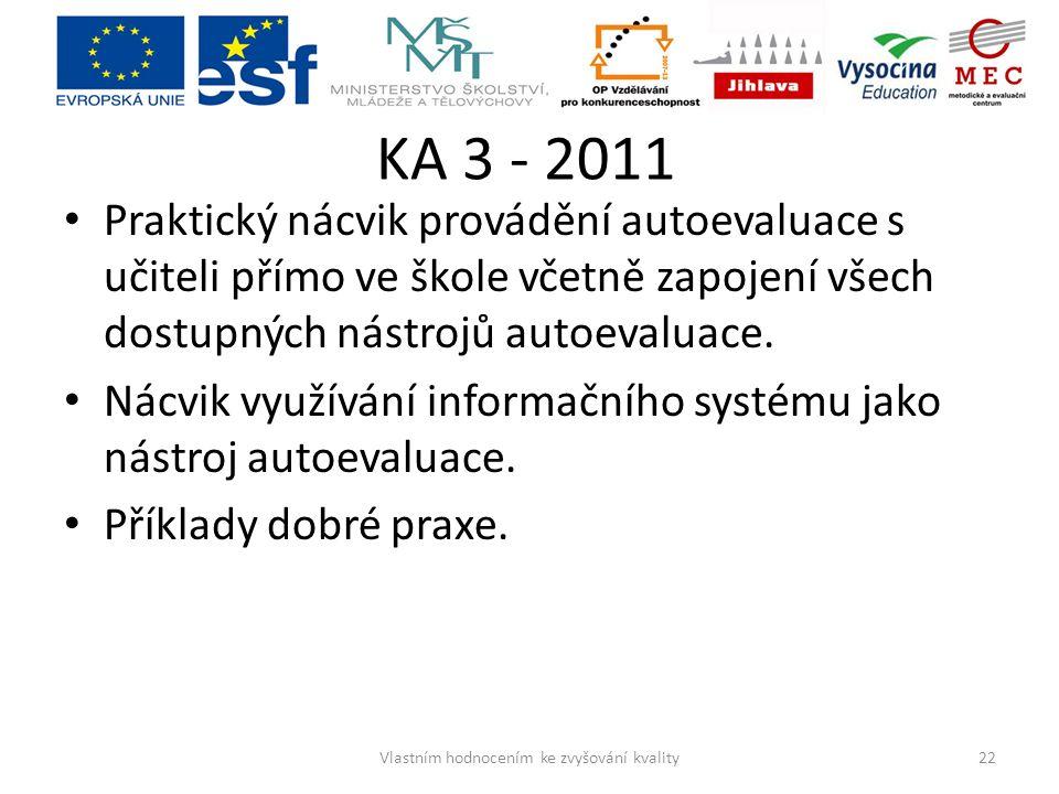 KA 3 - 2011 Praktický nácvik provádění autoevaluace s učiteli přímo ve škole včetně zapojení všech dostupných nástrojů autoevaluace. Nácvik využívání