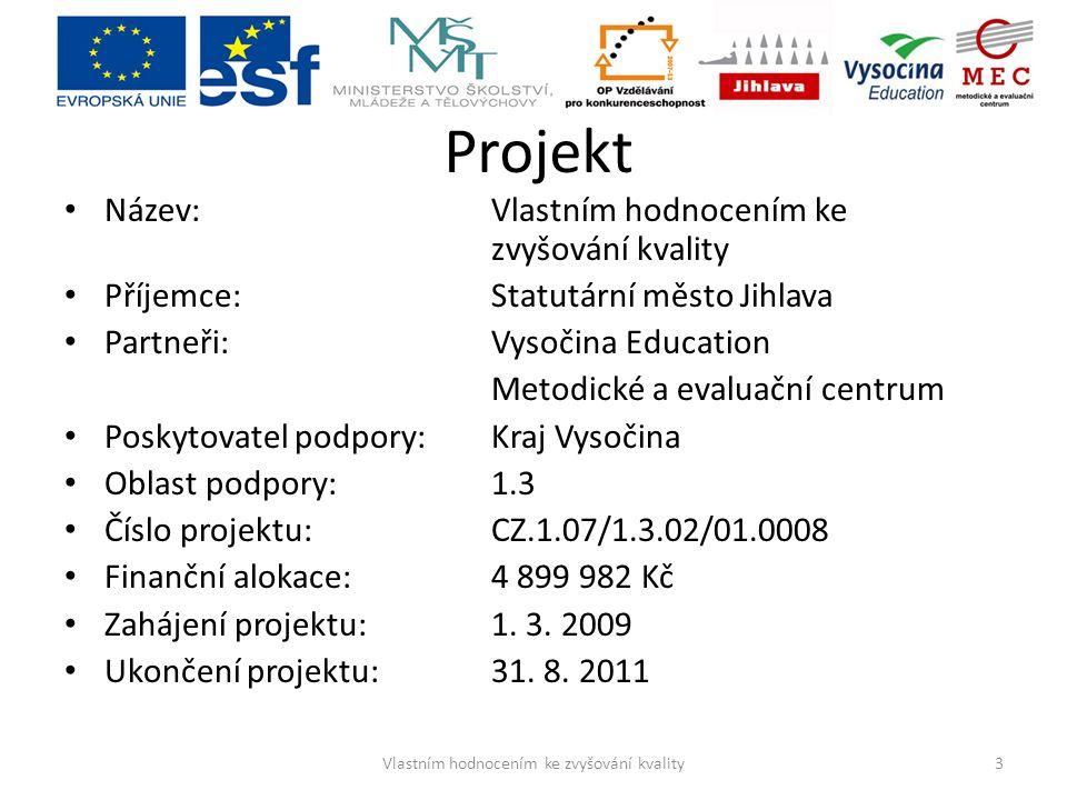 Projekt Název: Vlastním hodnocením ke zvyšování kvality Příjemce: Statutární město Jihlava Partneři: Vysočina Education Metodické a evaluační centrum