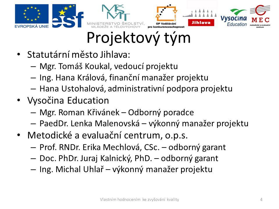 Projektový tým Statutární město Jihlava: – Mgr. Tomáš Koukal, vedoucí projektu – Ing. Hana Králová, finanční manažer projektu – Hana Ustohalová, admin