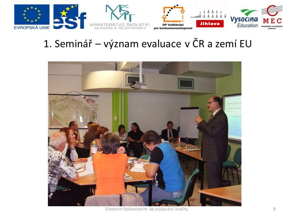 1. Seminář – význam evaluace v ČR a zemí EU 9Vlastním hodnocením ke zvyšování kvality