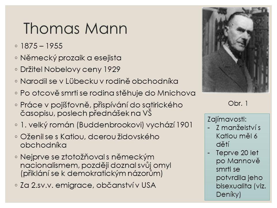 Thomas Mann ◦ 1875 – 1955 ◦ Německý prozaik a esejista ◦ Držitel Nobelovy ceny 1929 ◦ Narodil se v Lübecku v rodině obchodníka ◦ Po otcově smrti se rodina stěhuje do Mnichova ◦ Práce v pojišťovně, přispívání do satirického časopisu, poslech přednášek na VŠ ◦ 1.