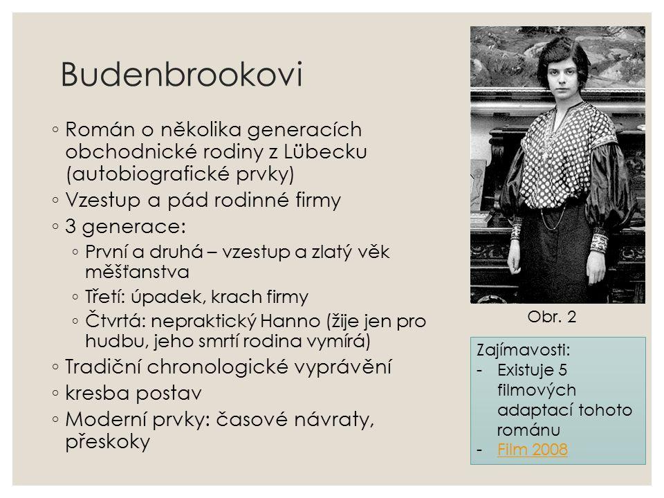 Budenbrookovi ◦ Román o několika generacích obchodnické rodiny z Lübecku (autobiografické prvky) ◦ Vzestup a pád rodinné firmy ◦ 3 generace: ◦ První a druhá – vzestup a zlatý věk měšťanstva ◦ Třetí: úpadek, krach firmy ◦ Čtvrtá: nepraktický Hanno (žije jen pro hudbu, jeho smrtí rodina vymírá) ◦ Tradiční chronologické vyprávění ◦ kresba postav ◦ Moderní prvky: časové návraty, přeskoky Obr.