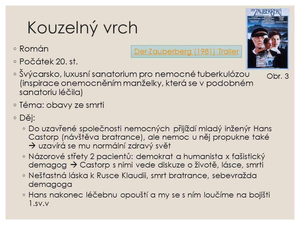 Kouzelný vrch ◦ Román ◦ Počátek 20. st. ◦ Švýcarsko, luxusní sanatorium pro nemocné tuberkulózou (inspirace onemocněním manželky, která se v podobném