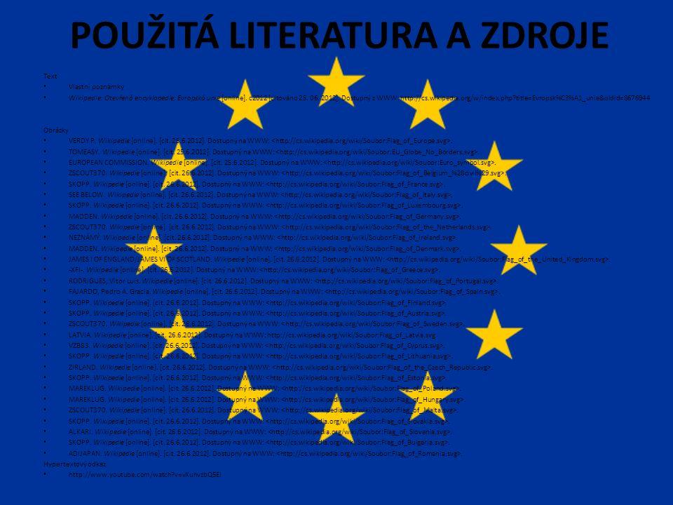 POUŽITÁ LITERATURA A ZDROJE Text Vlastní poznámky Wikipedie: Otevřená encyklopedie: Evropská unie [online].