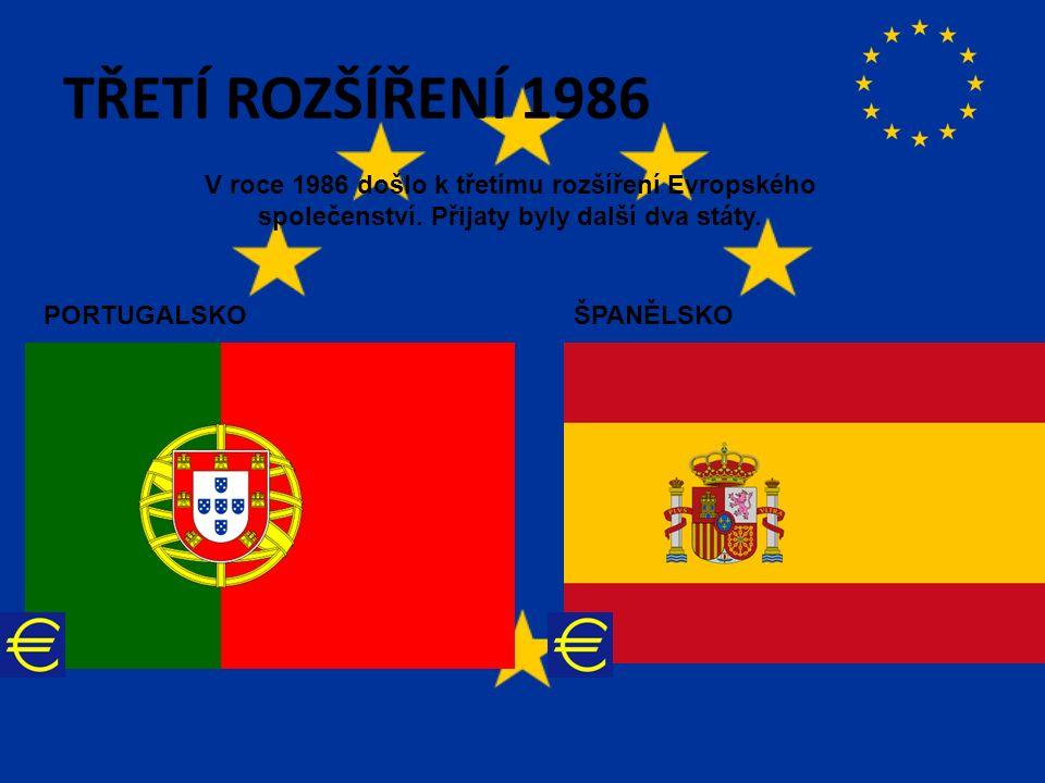 TŘETÍ ROZŠÍŘENÍ 1986 V roce 1986 došlo k třetímu rozšíření Evropského společenství.