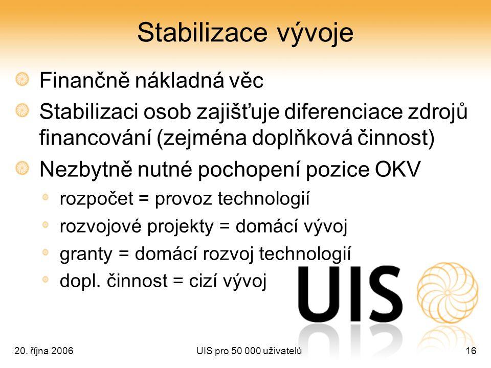 20. října 2006UIS pro 50 000 uživatelů16 Stabilizace vývoje Finančně nákladná věc Stabilizaci osob zajišťuje diferenciace zdrojů financování (zejména