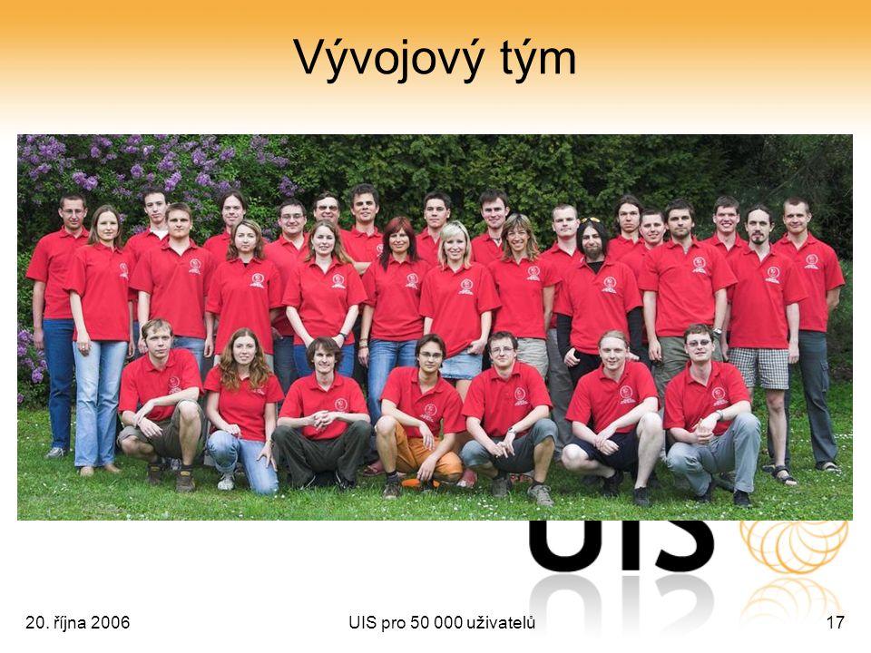 20. října 2006UIS pro 50 000 uživatelů17 Vývojový tým