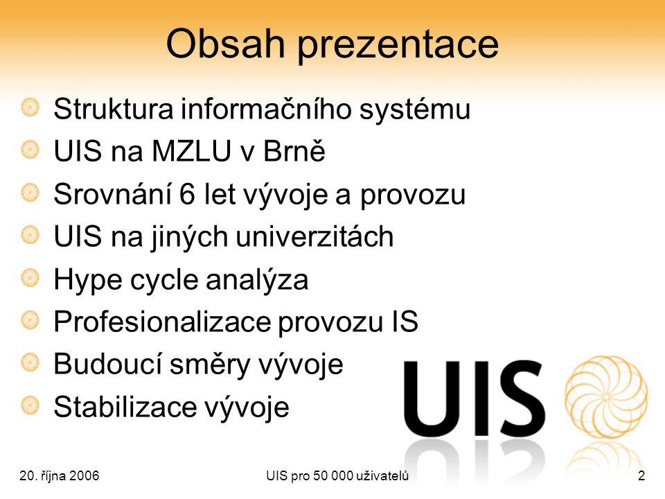 20. října 2006UIS pro 50 000 uživatelů2 Obsah prezentace Struktura informačního systému UIS na MZLU v Brně Srovnání 6 let vývoje a provozu UIS na jiný