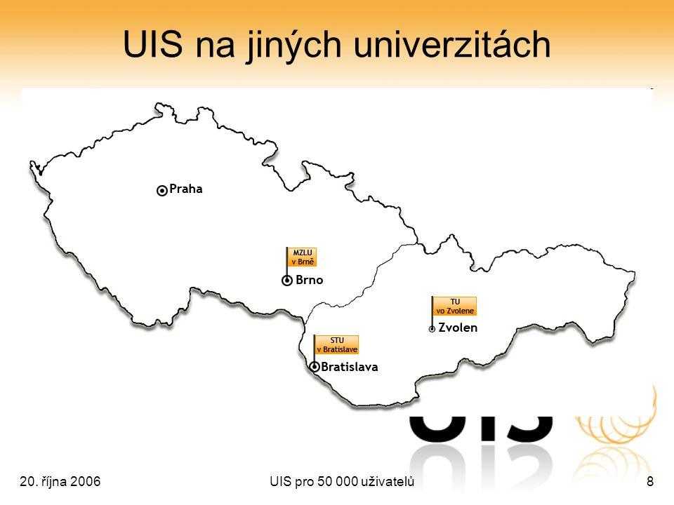 20. října 2006UIS pro 50 000 uživatelů8 UIS na jiných univerzitách