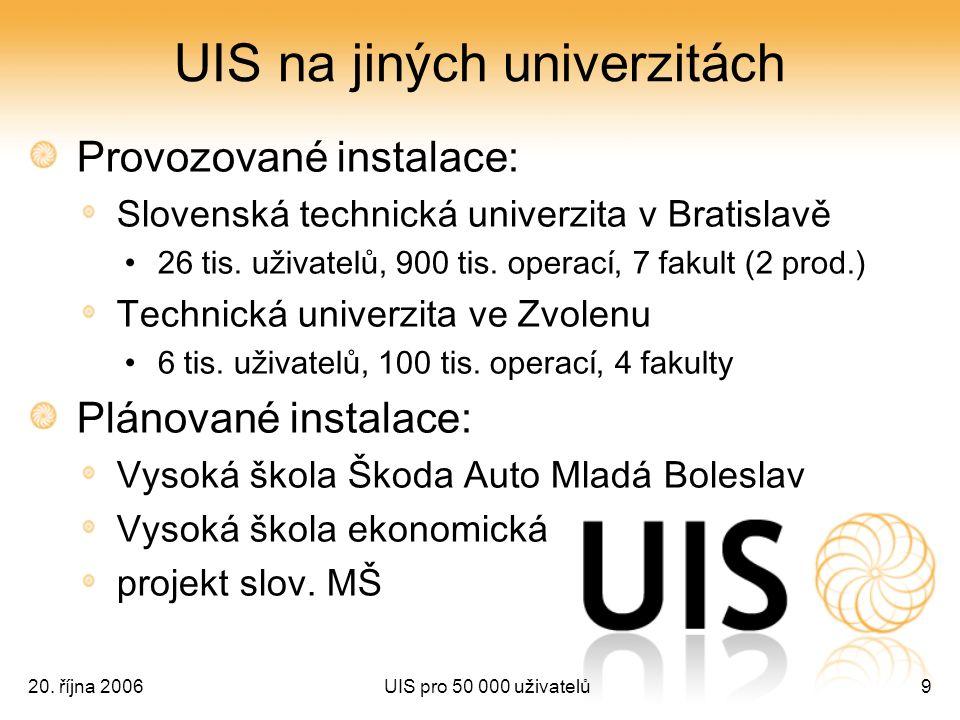 20. října 2006UIS pro 50 000 uživatelů9 UIS na jiných univerzitách Provozované instalace: Slovenská technická univerzita v Bratislavě 26 tis. uživatel