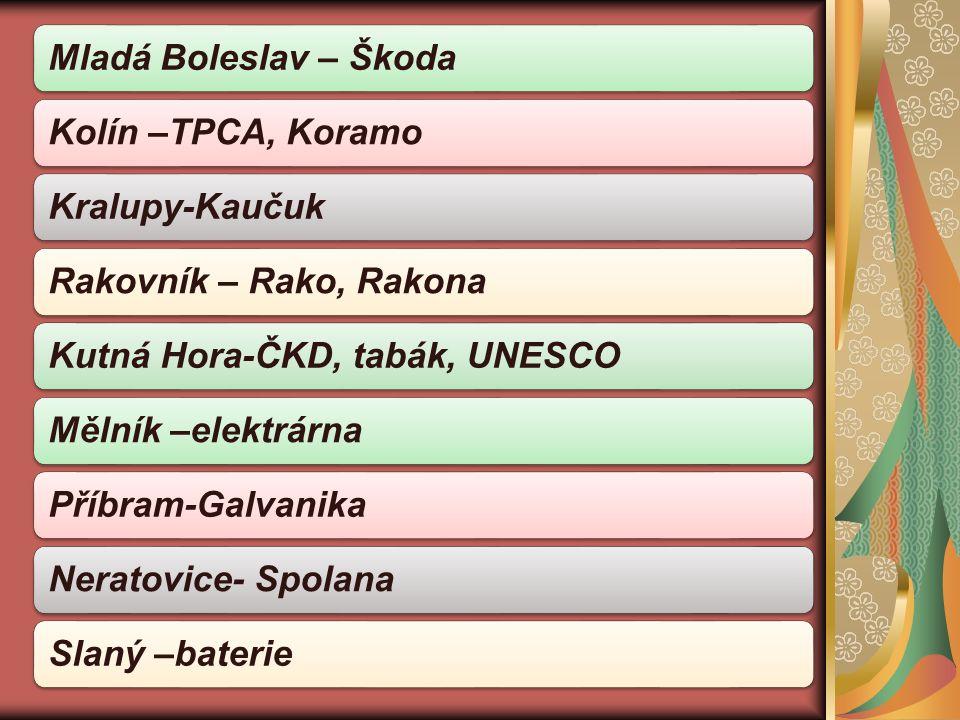 Mladá Boleslav – ŠkodaKolín –TPCA, KoramoKralupy-KaučukRakovník – Rako, RakonaKutná Hora-ČKD, tabák, UNESCO Mělník –elektrárnaPříbram-GalvanikaNeratovice- Spolana Slaný –baterie