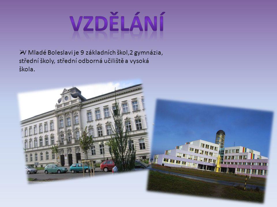  V Mladé Boleslavi je 9 základních škol,2 gymnázia, střední školy, střední odborná učiliště a vysoká škola.