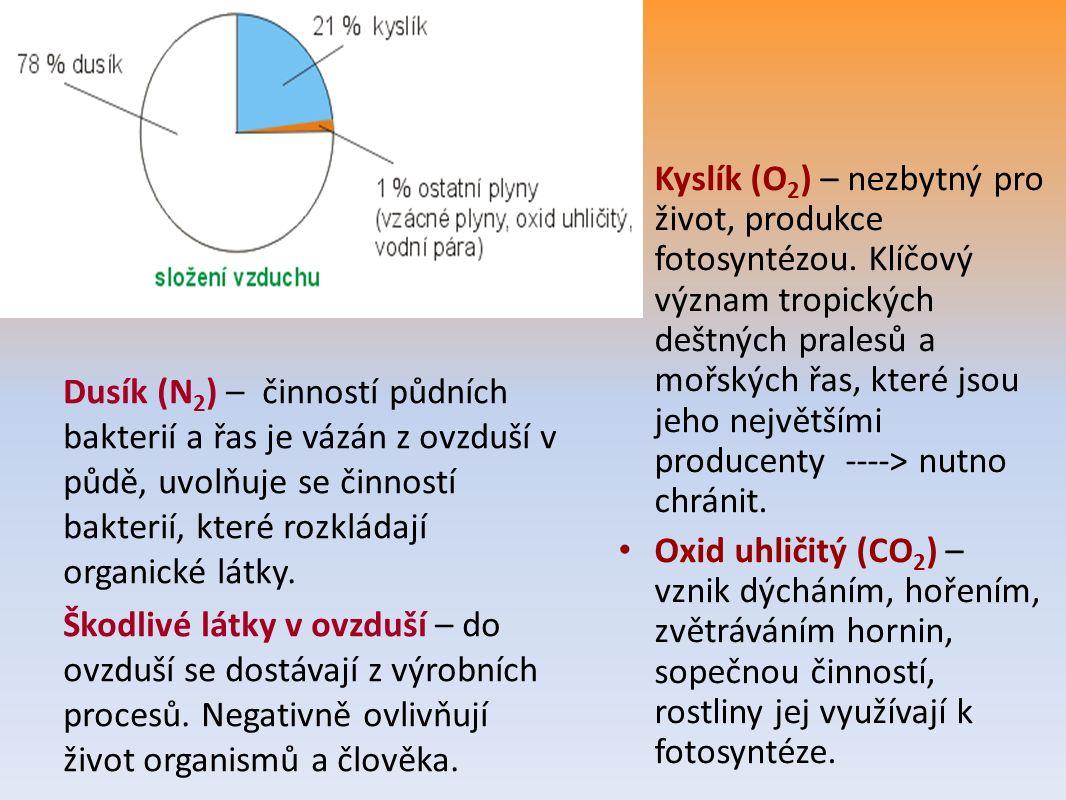 Kyslík (O 2 ) – nezbytný pro život, produkce fotosyntézou.
