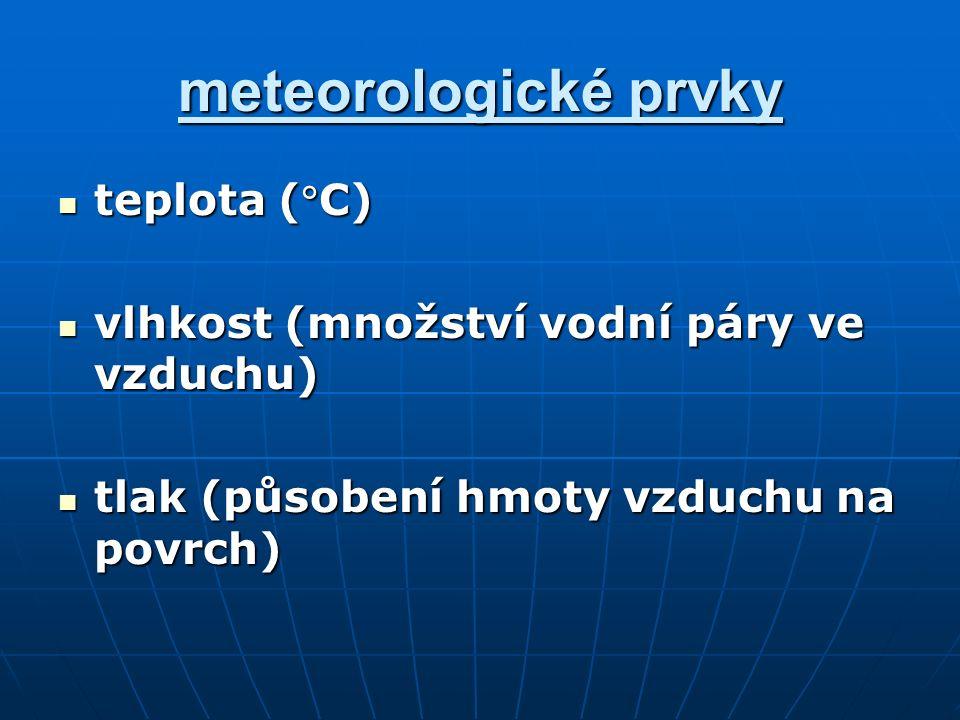 meteorologické prvky teplota (C) teplota (C) vlhkost (množství vodní páry ve vzduchu) vlhkost (množství vodní páry ve vzduchu) tlak (působení hmoty vzduchu na povrch) tlak (působení hmoty vzduchu na povrch)