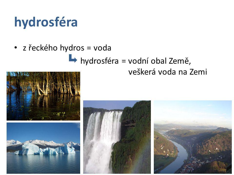 hydrosféra z řeckého hydros = voda hydrosféra = vodní obal Země, veškerá voda na Zemi