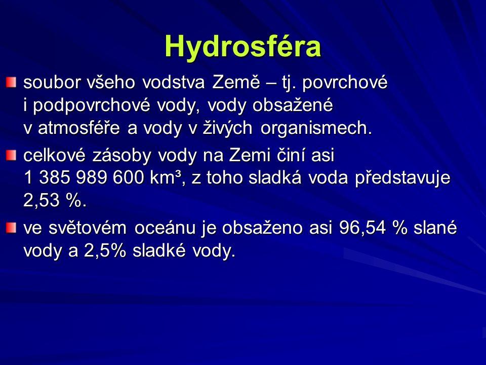 Hydrosféra soubor všeho vodstva Země – tj. povrchové i podpovrchové vody, vody obsažené v atmosféře a vody v živých organismech. celkové zásoby vody n