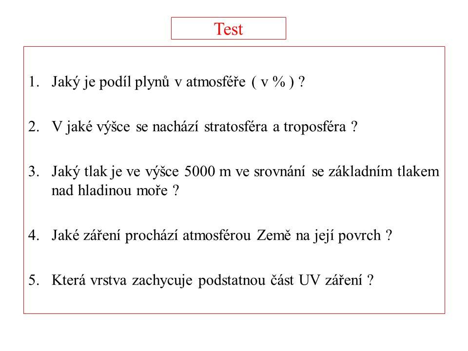Test 1.Jaký je podíl plynů v atmosféře ( v % ) ? 2.V jaké výšce se nachází stratosféra a troposféra ? 3.Jaký tlak je ve výšce 5000 m ve srovnání se zá