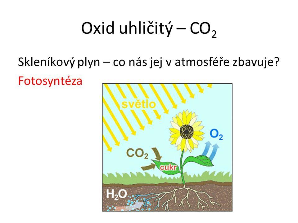 Oxid uhličitý – CO 2 Skleníkový plyn – co nás jej v atmosféře zbavuje? Fotosyntéza