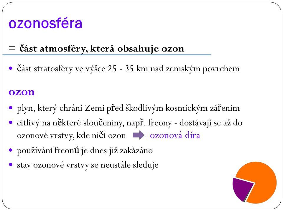 ozonosféra = č ást atmosféry, která obsahuje ozon č ást stratosféry ve výšce 25 - 35 km nad zemským povrchem ozon plyn, který chrání Zemi p ř ed škodl