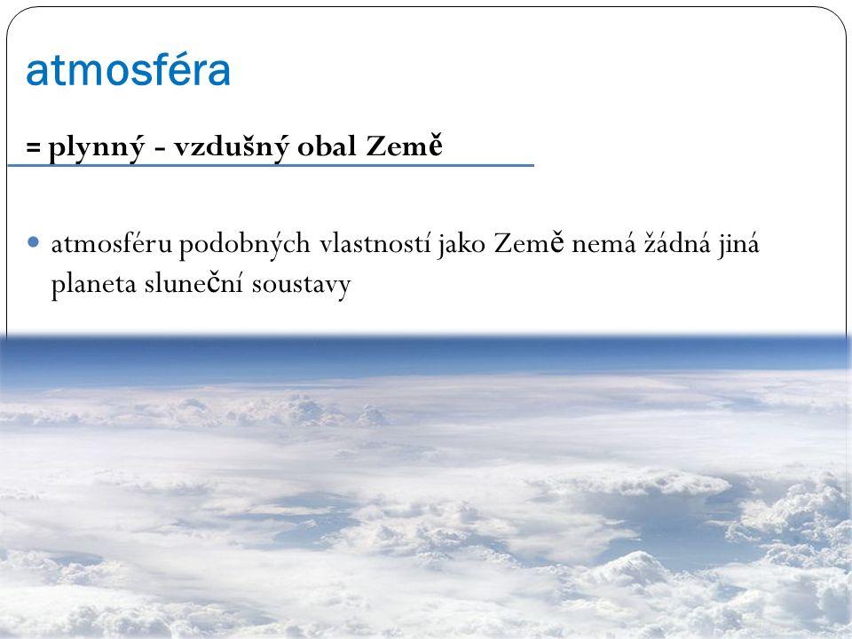 atmosféra = plynný - vzdušný obal Zem ě atmosféru podobných vlastností jako Zem ě nemá žádná jiná planeta slune č ní soustavy