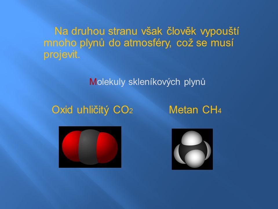 Na druhou stranu však člověk vypouští mnoho plynů do atmosféry, což se musí projevit.