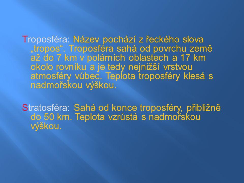 """Troposféra: Název pochází z řeckého slova """"tropos ."""