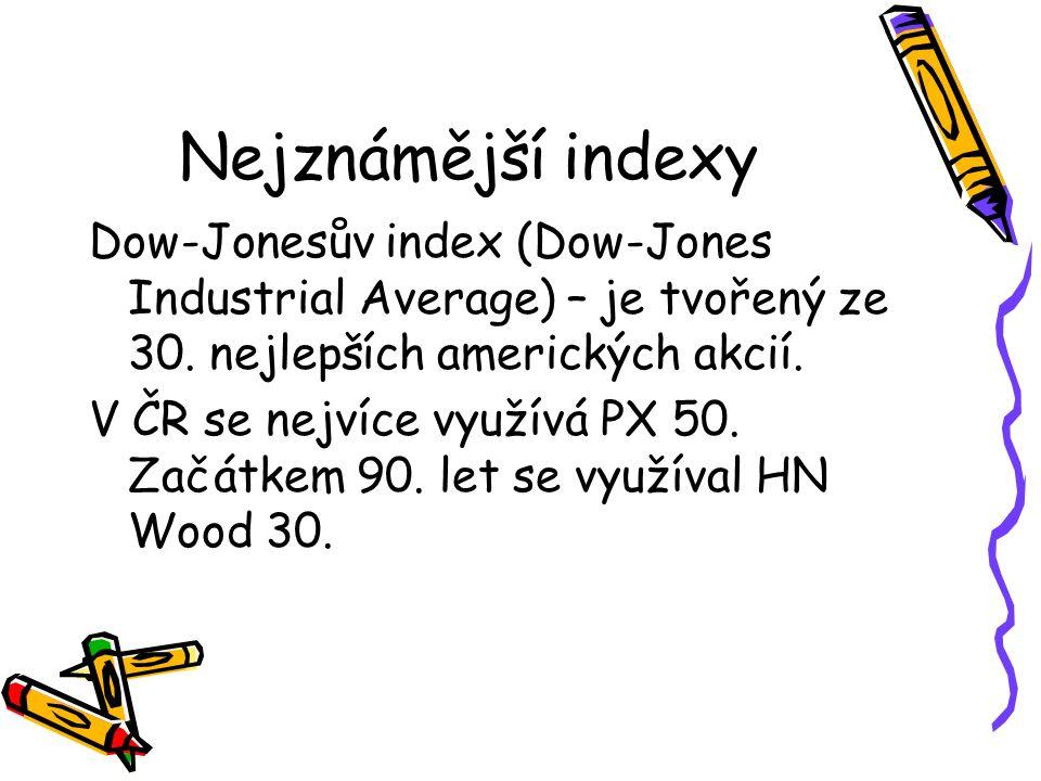 Nejznámější indexy Dow-Jonesův index (Dow-Jones Industrial Average) – je tvořený ze 30.