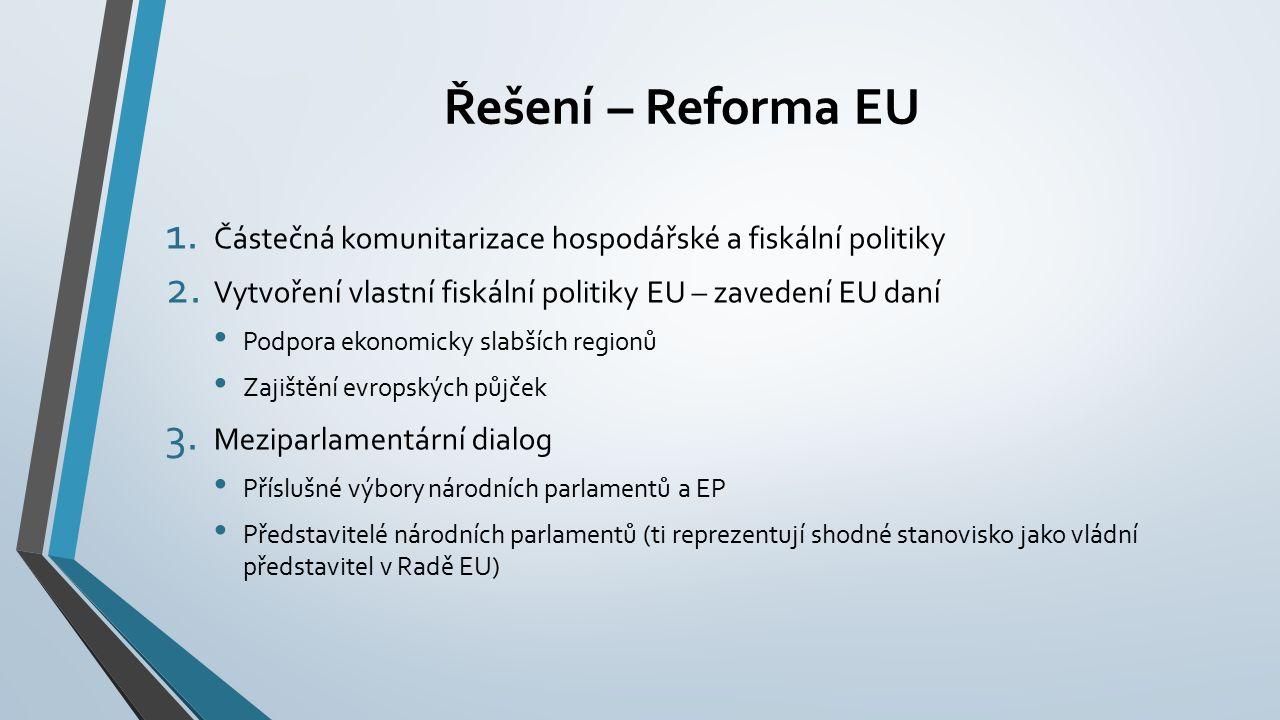 Řešení – Reforma EU 1. Částečná komunitarizace hospodářské a fiskální politiky 2.