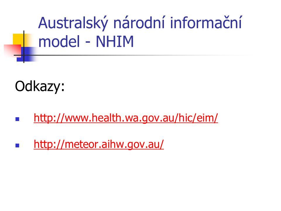 Australský národní informační model - NHIM Odkazy: http://www.health.wa.gov.au/hic/eim/ http://meteor.aihw.gov.au/