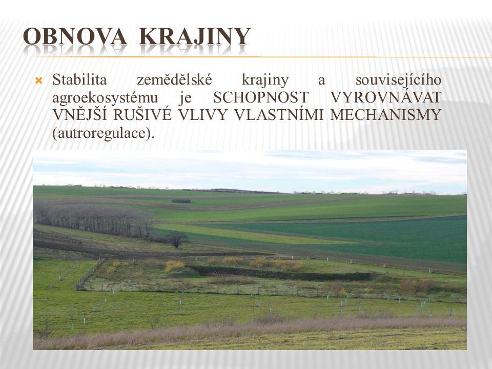  Stabilita zemědělské krajiny a souvisejícího agroekosystému je SCHOPNOST VYROVNÁVAT VNĚJŠÍ RUŠIVÉ VLIVY VLASTNÍMI MECHANISMY (autroregulace).
