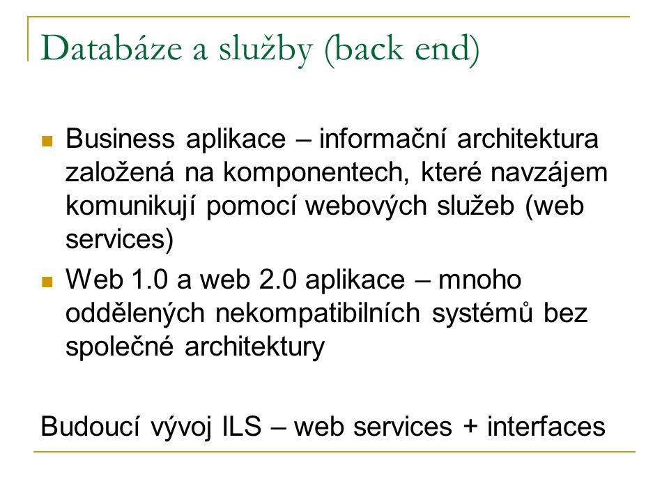 Databáze a služby (back end) Business aplikace – informační architektura založená na komponentech, které navzájem komunikují pomocí webových služeb (web services) Web 1.0 a web 2.0 aplikace – mnoho oddělených nekompatibilních systémů bez společné architektury Budoucí vývoj ILS – web services + interfaces