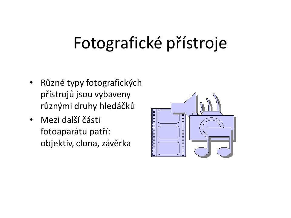 Fotografické přístroje Různé typy fotografických přístrojů jsou vybaveny různými druhy hledáčků Mezi další části fotoaparátu patří: objektiv, clona, z