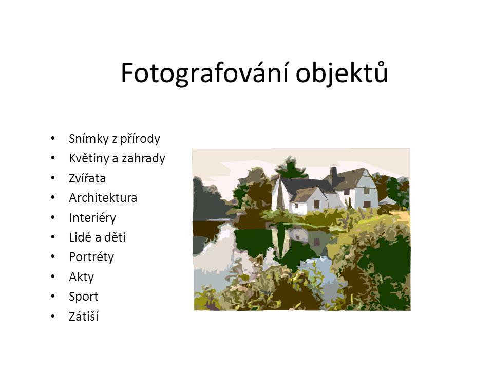 Fotografování objektů Snímky z přírody Květiny a zahrady Zvířata Architektura Interiéry Lidé a děti Portréty Akty Sport Zátiší