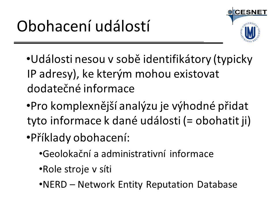 Obohacení událostí Události nesou v sobě identifikátory (typicky IP adresy), ke kterým mohou existovat dodatečné informace Pro komplexnější analýzu je výhodné přidat tyto informace k dané události (= obohatit ji) Příklady obohacení: Geolokační a administrativní informace Role stroje v síti NERD – Network Entity Reputation Database